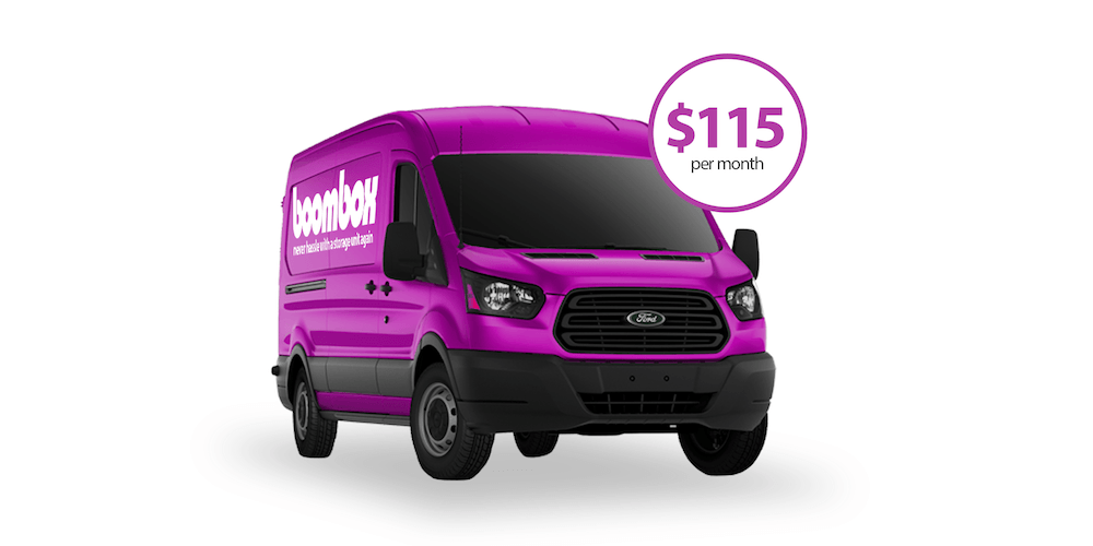 Boombox Storage van price. Just $115 a month. Get rid of your clutter. Better price than Clutter, Omni, Trove, and Closetbox.